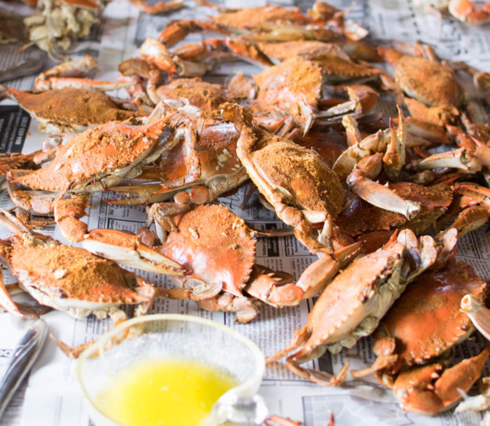 Old Bay Steamed Crabs with butter