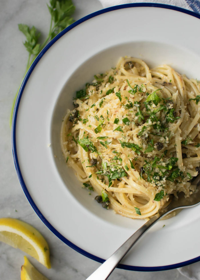 Linguine with Sardines and Fried Caper Gremolata