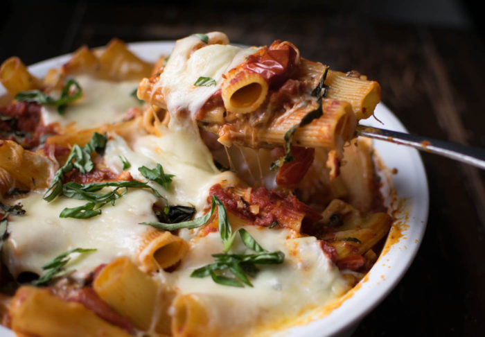 Baked Rigatoni with Pancetta and Mushrooms
