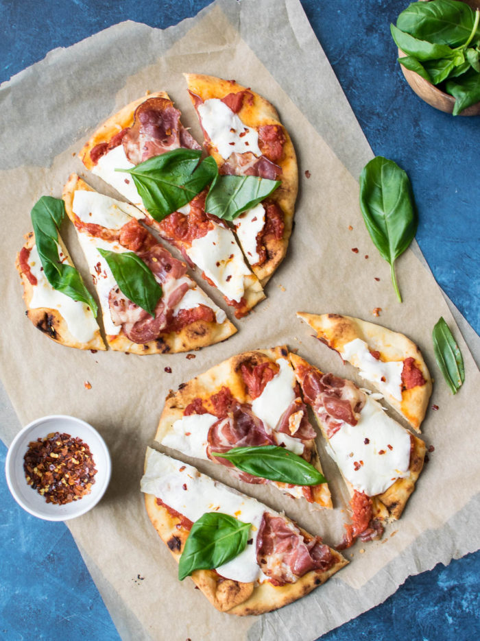 Naan Pizza with Fresh Mozzarella cut into pieces