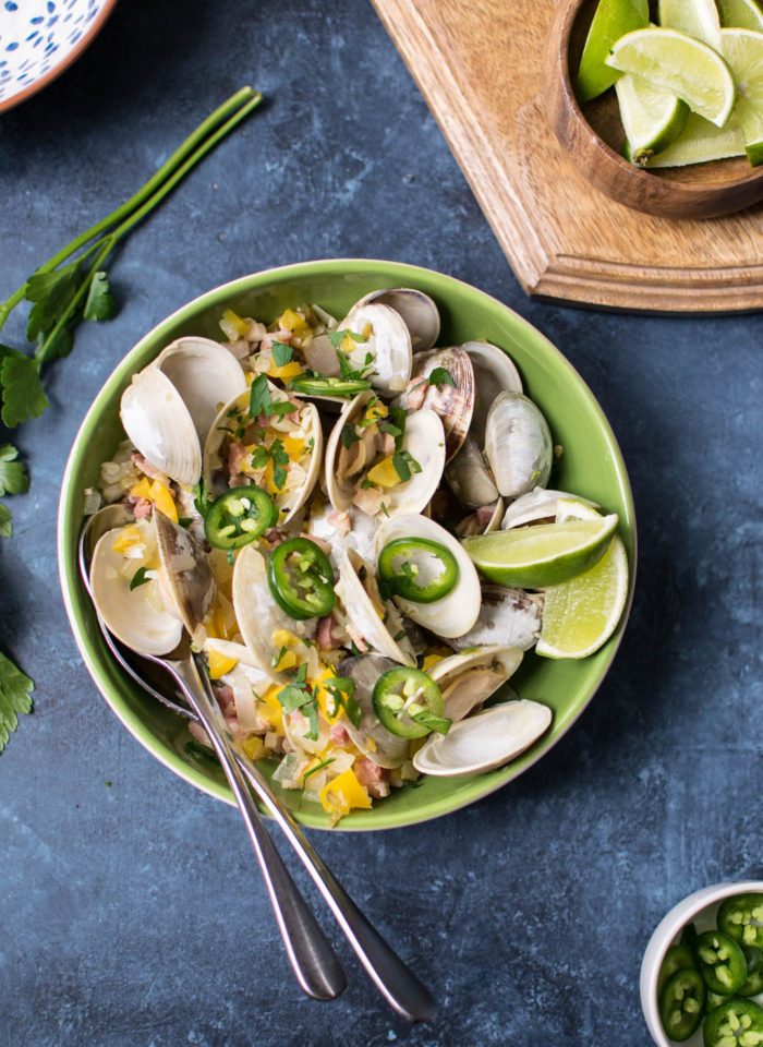 Tequila Clams with Pancetta and Peppers