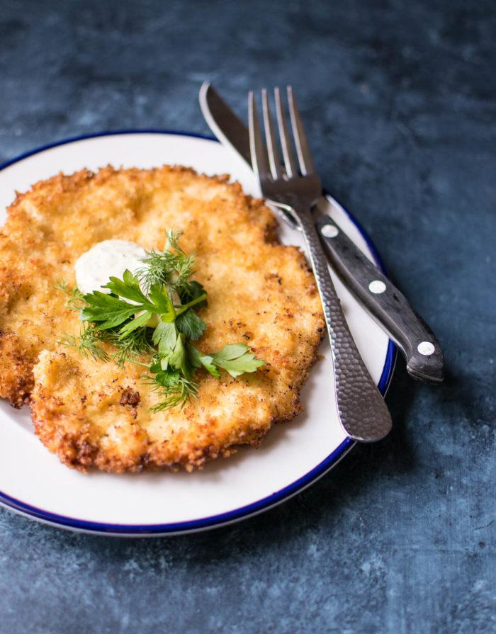 Chicken Schnitzel with horseradish and yogurt sauce