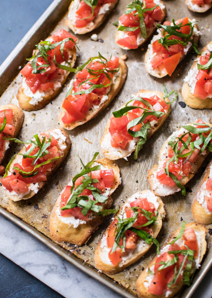 Bruschetta on sheet pan
