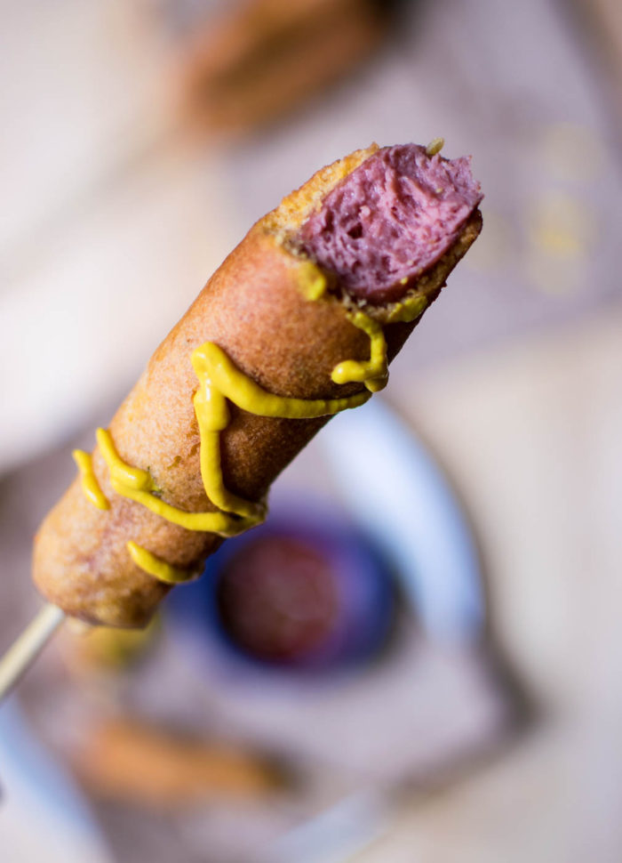 gochujang corn dog with mustard
