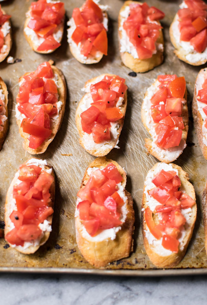 tomatoes on toasted bread for bruschetta