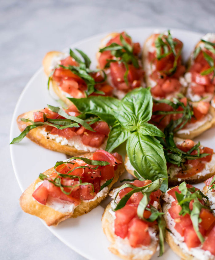 Italian Bruschetta Platter with fresh basil