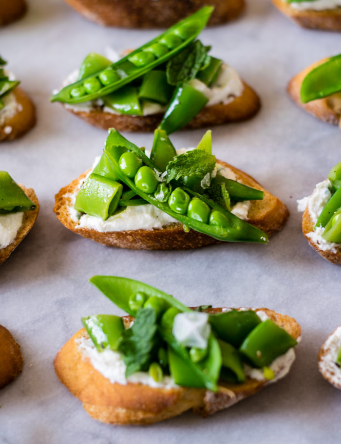 Sugar Snap pea crostini with ricotta and mint