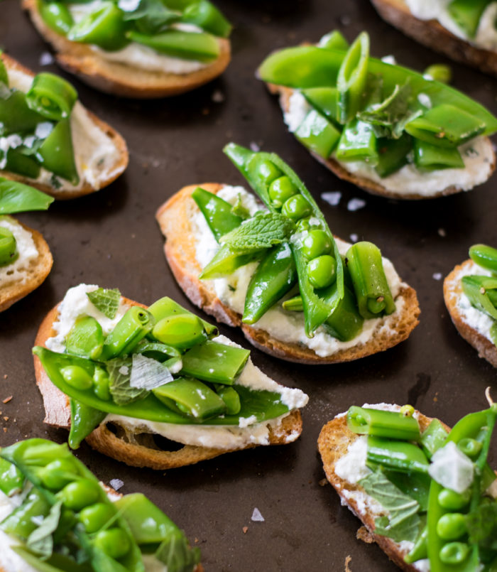Sugar Snap pea crostini