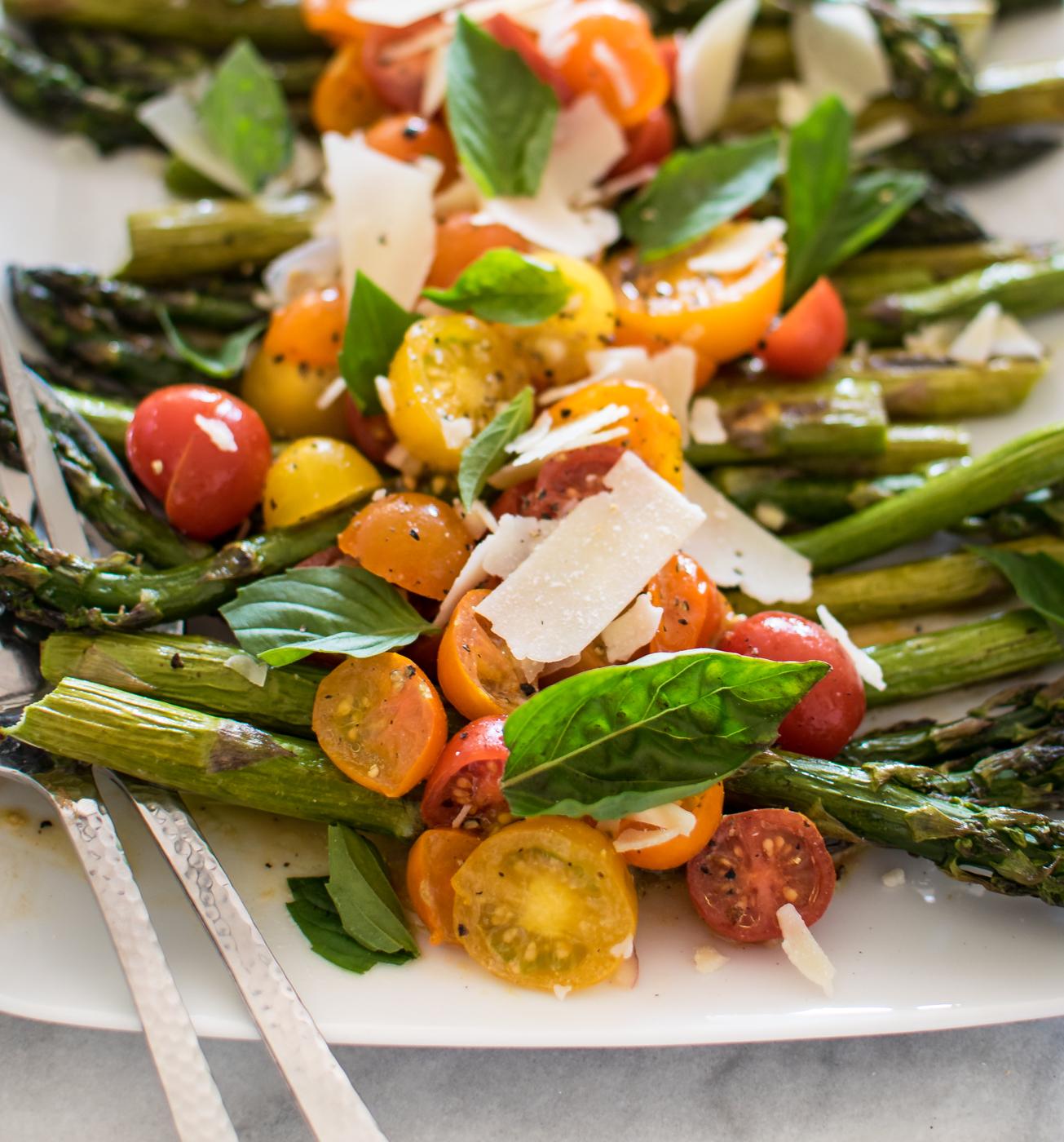 Roasted Asparagus with Marinated Tomato Salad