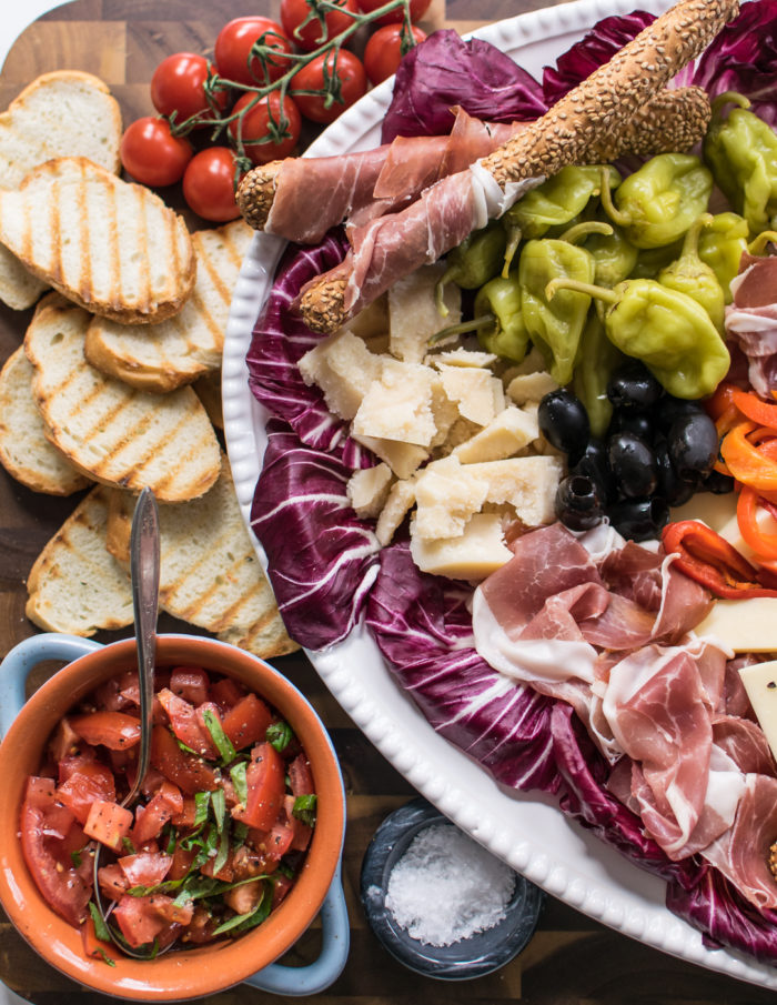 Italian Antipasto Platter with Bruschetta