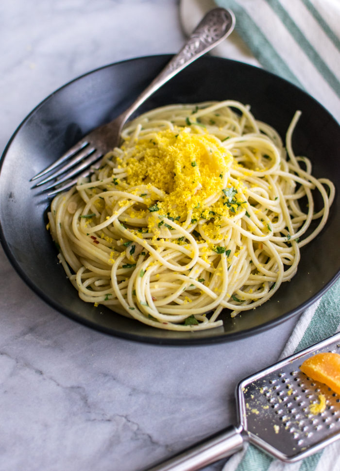 Aglio e Olio with Cured Egg Yolk grated on top