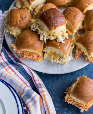 Chicken Enchilada Sliders on a platter