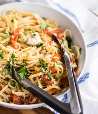 Linguine with Pickled Peppers and Crab