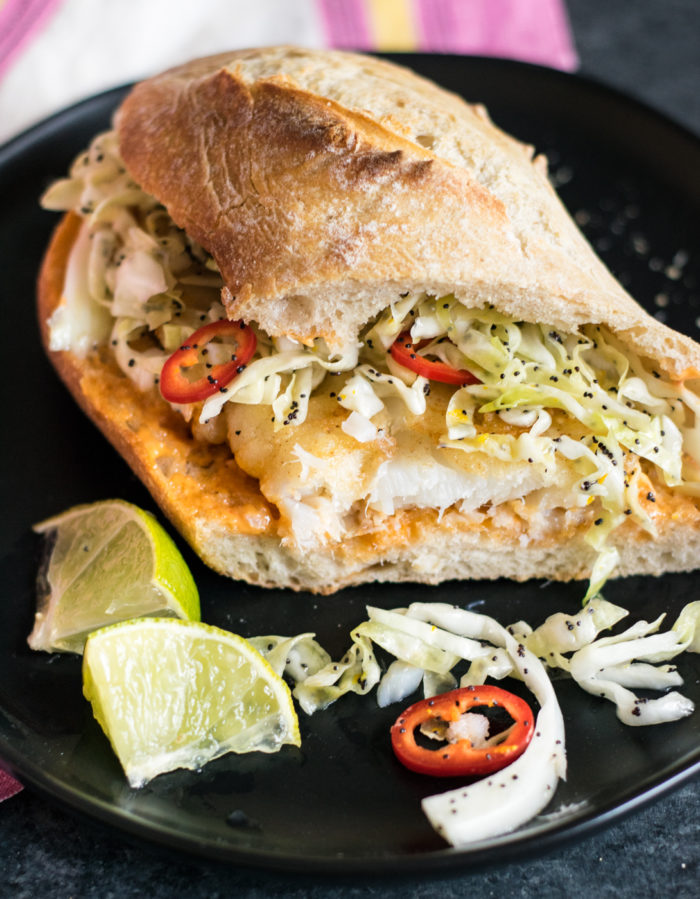 Spicy Fish Sandwiches with Citrus Poppy Slaw