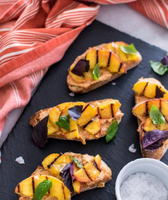 Grilled Peach and 'Nduja Crostini