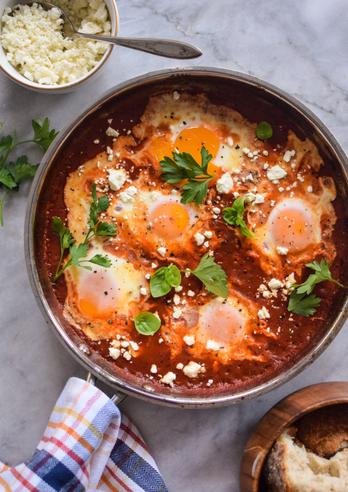 Eggs In Purgatory with Cheese