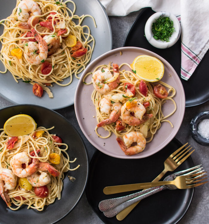 Spaghetti with Shrimp and Fennel