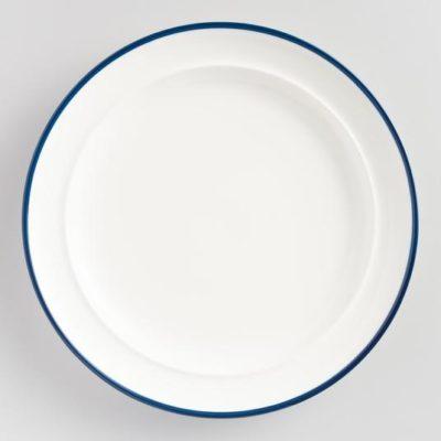 blue rimmed plate