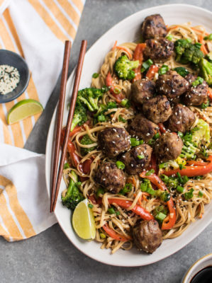 Teriyaki Chicken Meatballs with Noodles