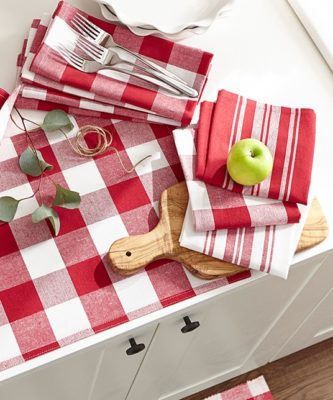 red striped dish towels