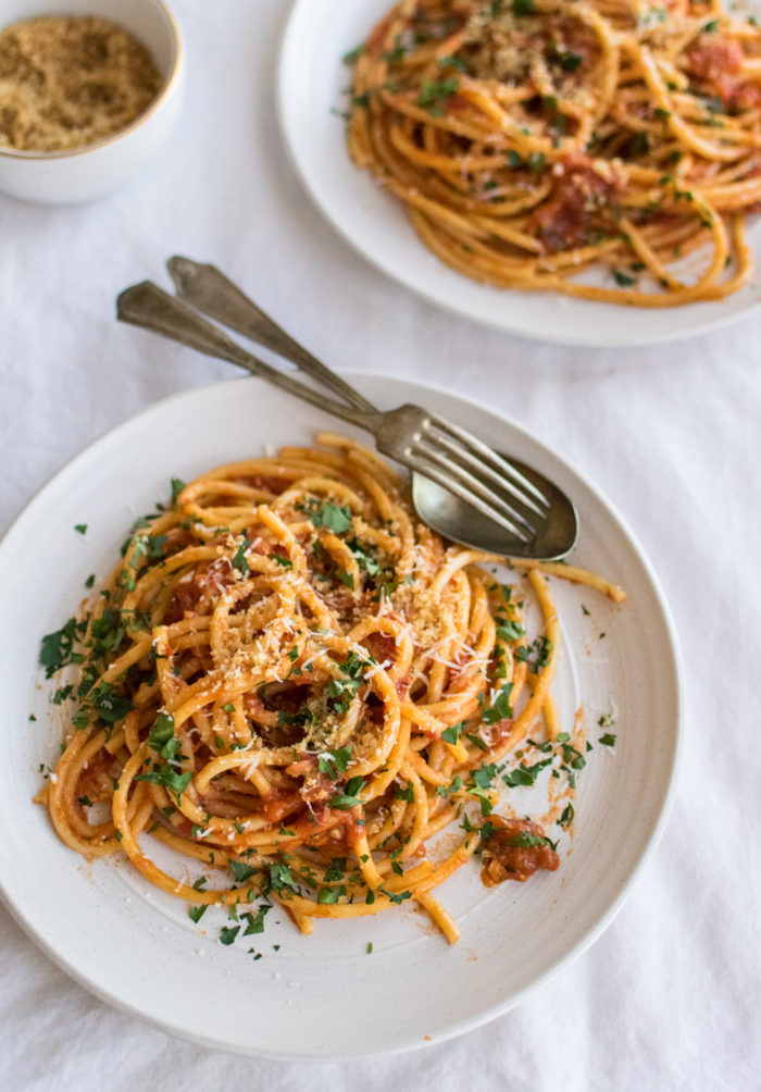 Bucatini with Anchovy Tomato Sauce