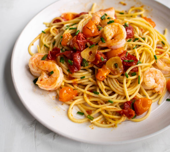 Spaghetti with Saffron Roasted Tomatoes