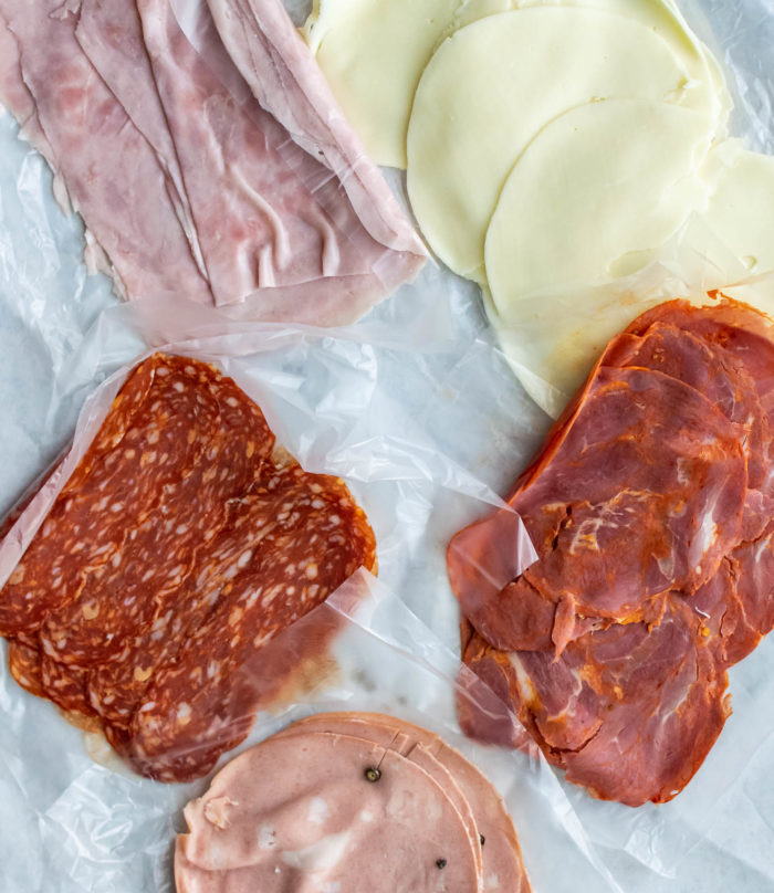 Cheese and meats for Italian sub