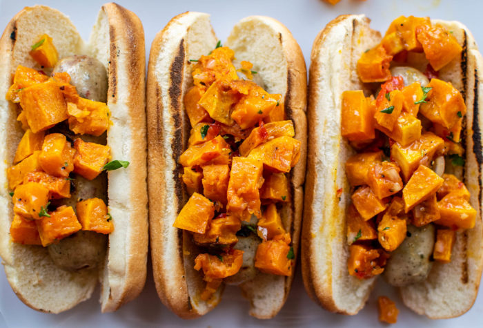 Grilled Sausages with Butternut Squash Relish