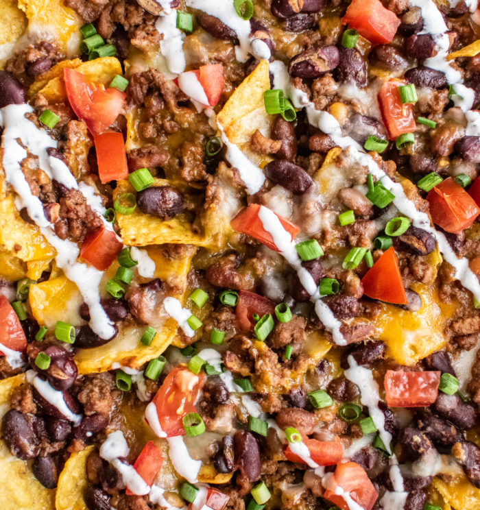 chili nachos close up