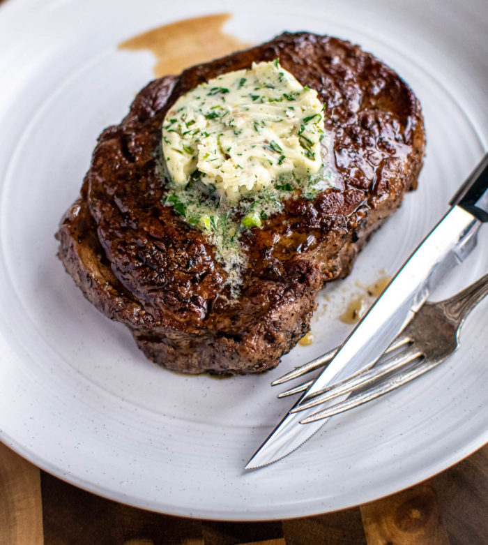 ribeye with anchovy herb butter
