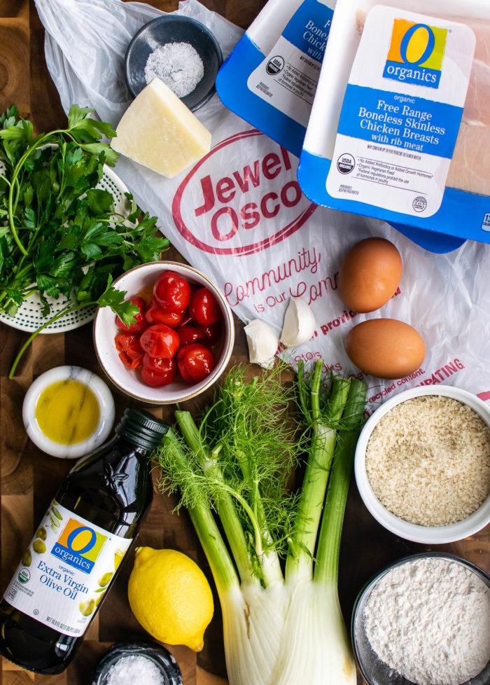 Chicken Schnitzel with Fennel Salad ingredients