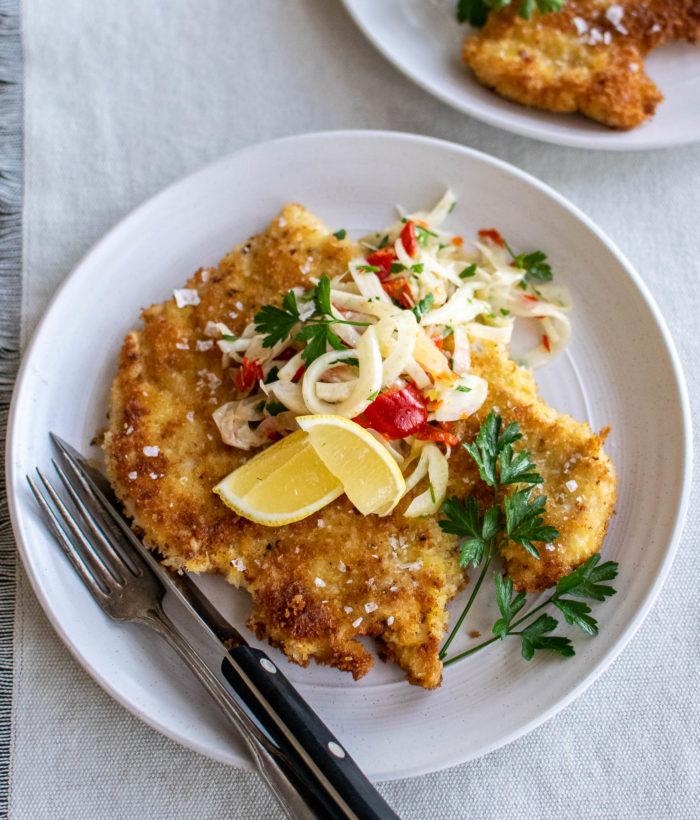 Chicken Schnitzel with Fennel Salad