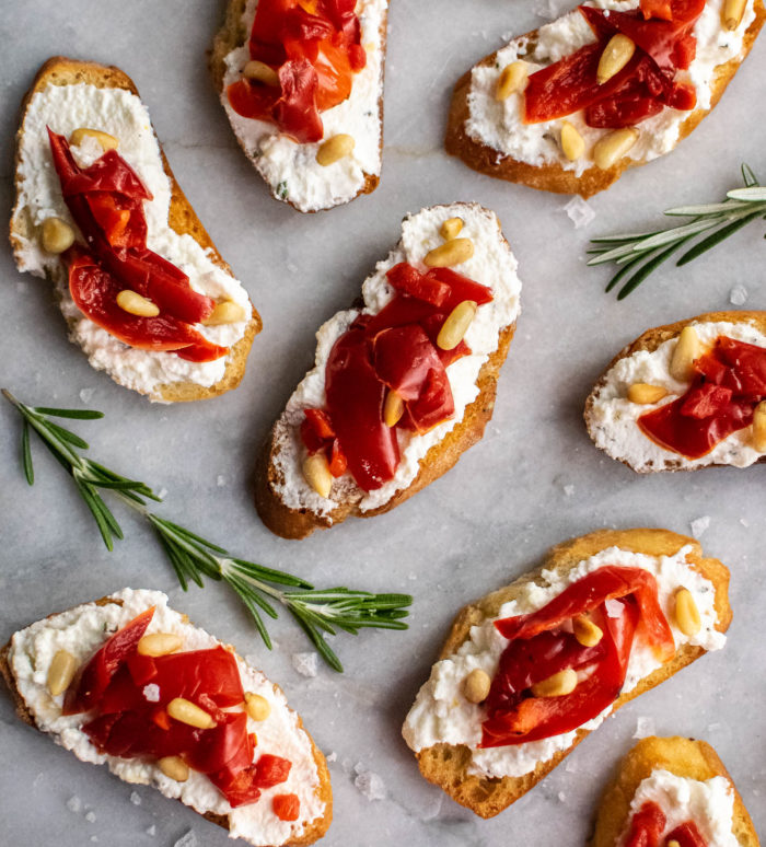 Ricotta and Roasted Red Pepper Crostini