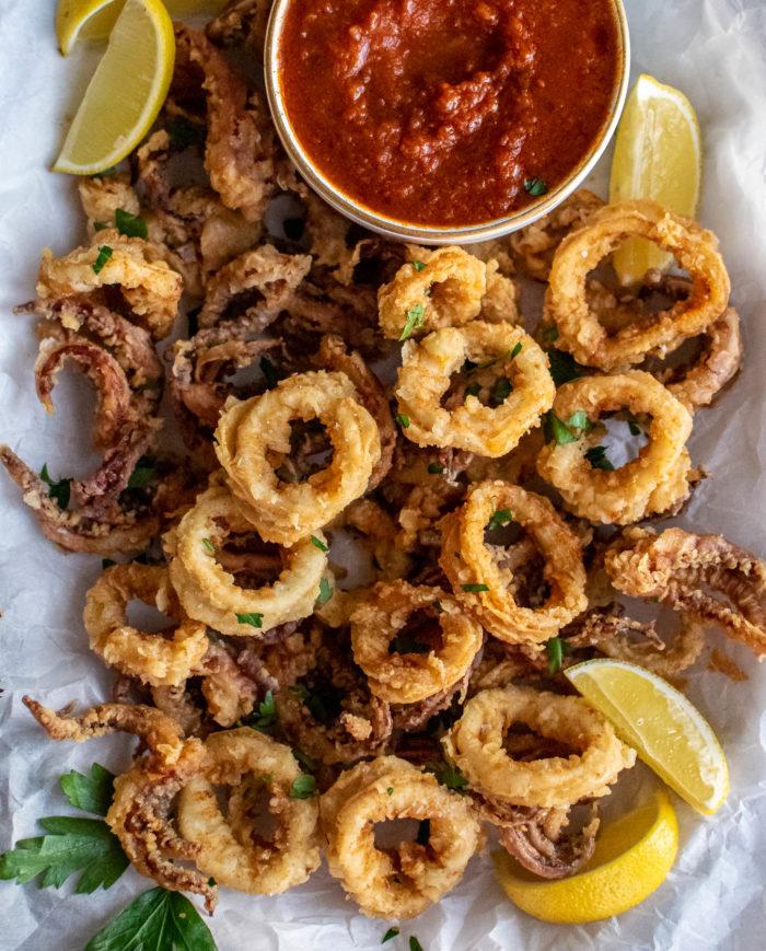 Fried Calamari with Marinara Dipping Sauce