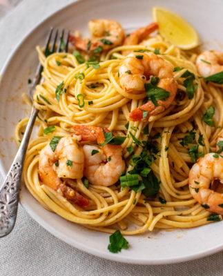 Spicy Shrimp Scampi with Linguine