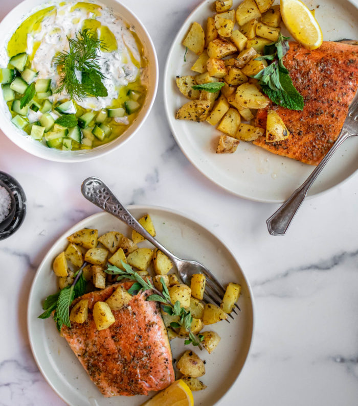 Greek Salmon and Potatoes with Tzatziki