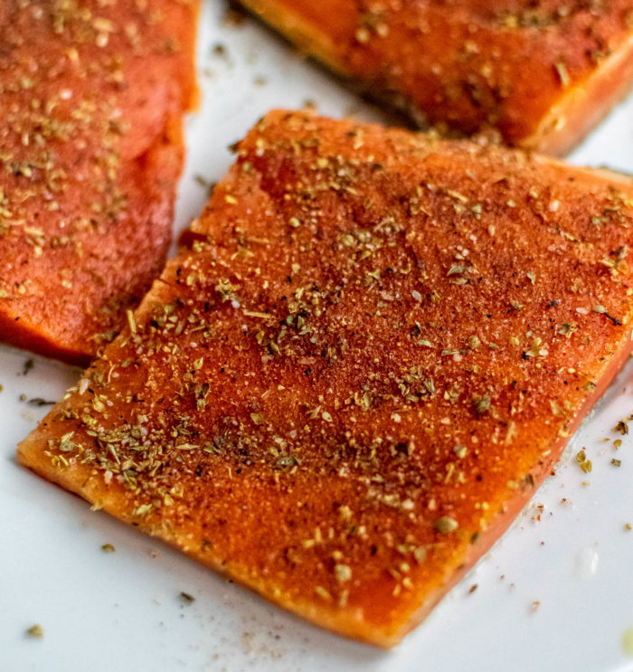 Sockeye salmon with Greek seasoning