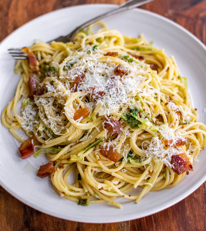 Spaghetti with Brussels Sprouts and Guanciale