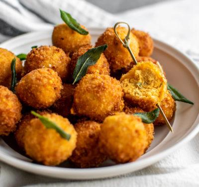 Fried Pumpkin Goat Cheese Balls